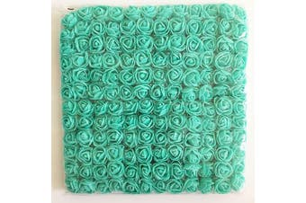 (Tiffany Blue) - Artfen Mini Fake Rose Flower Heads 144pcs Mini Artificial Roses DIY Wedding Flowers Accessories Make Bridal Hair Clips Headbands Dress (Bottom add Gauze) Tiffany Blue