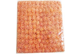 (Orange) - Artfen Mini Fake Rose Flower Heads 144pcs Mini Artificial Roses DIY Wedding Flowers Accessories Make Bridal Hair Clips Headbands Dress (Bottom add Gauze) Orange