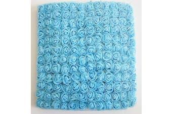 (Blue) - Artfen Mini Fake Rose Flower Heads 144pcs Mini Artificial Roses DIY Wedding Flowers Accessories Make Bridal Hair Clips Headbands Dress (Bottom add Gauze) Blue