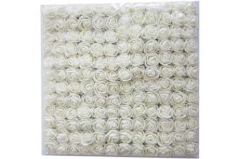(White) - Artfen Mini Fake Rose Flower Heads 144pcs Mini Artificial Roses DIY Wedding Flowers Accessories Make Bridal Hair Clips Headbands Dress (Bottom add Gauze) Milk White
