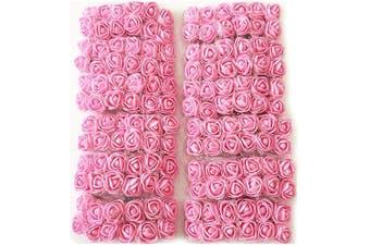 (Pink) - Artfen Mini Fake Rose Flower Heads 144pcs Mini Artificial Roses DIY Wedding Flowers Accessories Make Bridal Hair Clips Headbands Dress (Bottom add Gauze) Pink