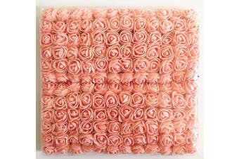 (Champagne-pink) - Artfen Mini Fake Rose Flower Heads 144pcs Mini Artificial Roses DIY Wedding Flowers Accessories Make Bridal Hair Clips Headbands Dress (Bottom add Gauze) Champagne-Pink