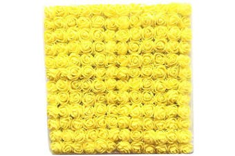(Yellow) - Artfen Mini Fake Rose Flower Heads 144pcs Mini Artificial Foam Roses DIY Wedding Flowers Accessories Make Bridal Hair Clips Headbands Dress (Bottom add Gauze) Yellow