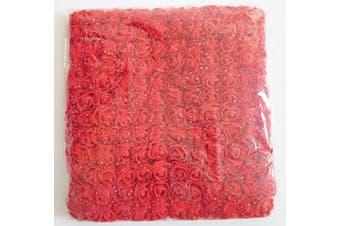 (Red) - Artfen Mini Fake Rose Flower Heads 144pcs Mini Artificial Roses DIY Wedding Flowers Accessories Make Bridal Hair Clips Headbands Dress (Bottom add Gauze) Red