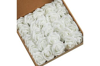 (White) - N & T NIETING Roses Artificial Flowers, 25pcs Real Touch Artificial Foam Roses Decoration DIY for Wedding Bridesmaid Bridal Bouquets Centrepieces, Party Decoration, Home Display(White)