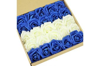 (Royalblue&ivory) - N & T NIETING Roses Artificial Flowers, 25pcs Real Touch Artificial Foam Rose with Stem for Decoration DIY Wedding Bridesmaid Bridal Bouquets Centrepieces, Party Decoration, Home Display (Ivory & Blue)