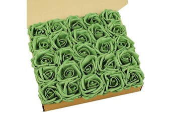 (Armygreen) - N & T NIETING Artificial Flowers Roses, 25pcs Real Touch Artificial Foam Rose with Stem for Cake Decoration DIY, Wedding Bridesmaid Bridal Bouquets Centrepieces, Party Decoration, Home Display