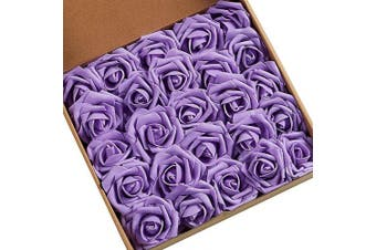 (50pcs Lavender) - N & T NIETING Roses Artificial Flowers, 50pcs Real Touch Artificial Foam Roses Decoration DIY for Wedding Bridesmaid Bridal Bouquets Centrepieces, Party Decoration, Home Display (50pcs Lavender)