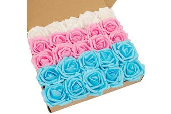 (Mixed Color-c) - N & T NIETING Artificial Flowers Roses, 25pcs Real Touch Artificial Foam Roses with Steams for Baby Shower, Cake Decoration DIY, Wedding Bridal Bouquets Centrepieces, Party Decoration, Home Display