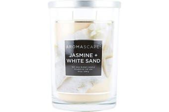 (560ml, Jasmine & White Sands) - Aromascape 2-Wick Scented Jar Candle, Jasmine & White Sands, 560ml, Cream