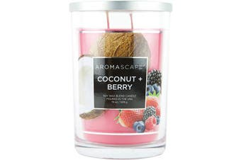 (560ml, Coconut & Berry) - Aromascape PT41921 2-Wick Scented Jar Candle, Coconut & Berry, 560ml, Pink/Red