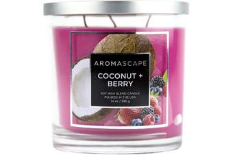 (410ml, Coconut & Berry) - Aromascape PT41459 3-Wick Scented Jar Candle, Coconut & Berry,410ml