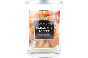 (560ml, Caramel & Toffee) - Aromascape 2-Wick Scented Jar Candle, Caramel & Toffee, 560ml, Brown