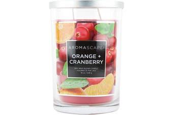 (560ml, Orange & Cranberry) - Aromascape PT41908 2-Wick Scented Jar Candle, Orange & Cranberry, 560ml, Red