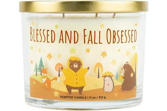 (Blessed and Fall Obsessed) - Aromascape Blessed & Fall Obsessed, 3-Wick Scented Candle, Blessed and Fall, White