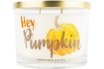 (Hey Pumpkin) - Aromascape Hey Pumpkin, 3 Wick Scented Candle, White
