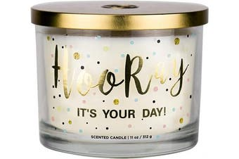 """(Hooray it's Your Day) - Aromascape PT41416 """"Hooray it's Your Day"""" 3-Wick Scented Candle (Vanilla Frosting and Almond Milk), 330ml"""