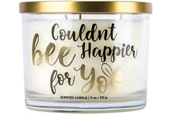 """(Couldn't Bee Happier for You) - Aromascape PT41467 """"Couldn't Bee Happier for You"""" 3-Wick Scented Candle (Honey, Vanilla and Almond Milk), 330ml"""
