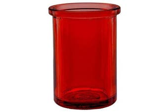 """(Red) - Bluecorn Beeswax 50% Recycled Glass Candle Holder (2¼-Inch Interior Diameter x 3¾-Inch"""" Tall) - Red"""