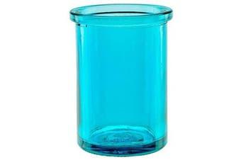 "(Aqua) - Bluecorn Beeswax 50% Recycled Glass Candle Holder (2¼-Inch Interior Diameter x 3¾-Inch"" Tall) - Aqua"