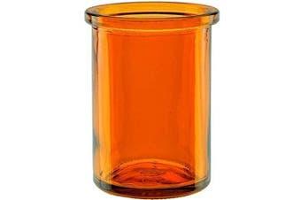 "(Orange) - Bluecorn Beeswax 50% Recycled Glass Candle Holder (2¼-Inch Interior Diameter x 3¾-Inch"" Tall) - Orange"