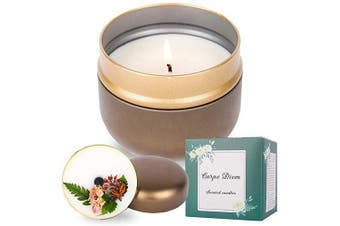 (Brown(amber & Sandalwood)) - Carpe Diem Hand Poured Scented Candles, 340ml | 40 Hour Burn. Long-Lasting and Refreshing, Highly Scented, Relaxing Aromatherapy Candles | Eternal Flower | Gift Box (Brown(Amber & Sandalwood))