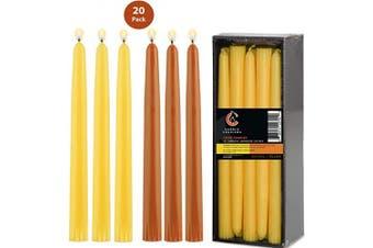 (Orange|yellow 20pc) - Orange and Yellow Taper Candles Set 25cm Dripless Smokeless Unscented Long Burning Bulk Set of 20