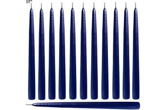(Cobalt Blue) - Blue Taper Candles 30cm Tall Unscented Elegant Premium Quality Dripless Smokeless Hand-Dipped - Set of 12 - for Holiday Decoration Wedding Dinner Table Birthday Made in USA