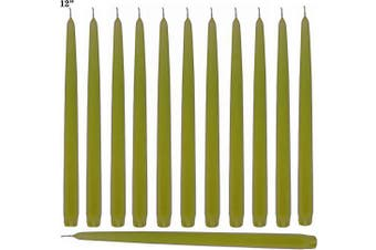 (Green Fresh) - Lime Green Taper Candles 30cm Tall Unscented Elegant Premium Quality Dripless Smokeless Hand-Dipped - Set of 12 - for Holiday Decoration Wedding Dinner Table Birthday Made in USA