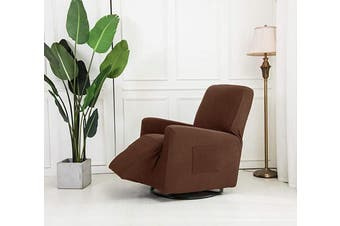 (Recliner, Light Brown) - Mk Collection Stretch to Fit Sofa Slipcover Cover Solid New (Taupe, Recliner)