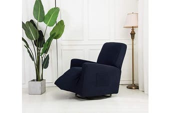 (Recliner, Navy Blue) - Mk Collection Stretch to Fit Recliner Slipcover Solid Dark Grey (Navy Blue, Recliner)