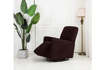 (Recliner, Coffee/Dark Brown) - Mk Collection Stretch to Fit Recliner Slipcover Solid Dark Grey (Coffee/Dark Brown, Recliner)