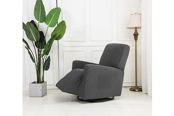 (Recliner, Light Grey) - Mk Collection Stretch to Fit Recliner Slipcover Solid Dark Grey (Light Grey, Recliner)