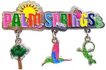 (California 2) - Palm Springs California 3 Charm Dangle Magnet