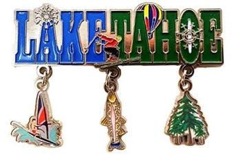 (Lake Taho) - Lake Taho 3 Charm Dangle Metal Magnet