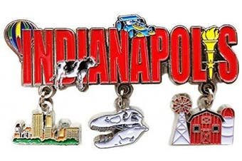 (Indiana) - State of Indianapolis 3 Charm Dangle Magnet