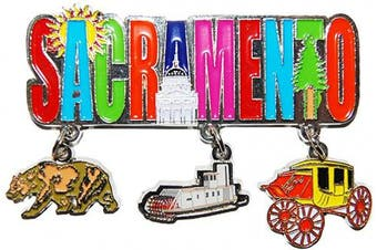(Sacramento) - Sacramento 3 Detailed Charms Metal Dangle Magnet