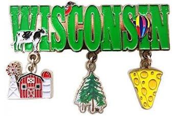 (State of Wisconsin 3 Charm) - State of Wisconsin 3 Charm Metal Dangle Magnet