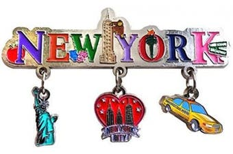 (New York) - New York City 3 Charm Dangle Metal Magnet- Featuring Taxi, Big Apple and Statue Liberty