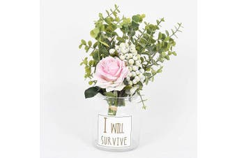 (Pink Rose) - Artiflr Artificial Flowers Rose Bouquet, Ins Style Real Touch Fake Rose Berry Leaf Floral Flower Arrangement Glass Rose for Home Wedding Party Decoration