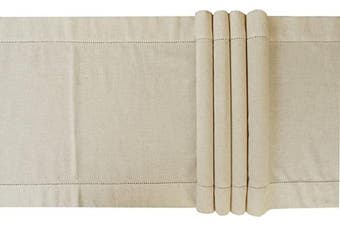 (16x108, Natural) - Light & Pro Dining Table Runner Cotton Flax,Table Runner,Rustic Bridal Shower Decor-16x 108-Natural-Hemstitched-Extra 5.1cm Wider Than 36cm Runners-Handcrafted with Hemstitch Detailing