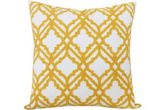 (46cm  x 46cm , Yellow Cross) - SLOW COW Cotton Embroidery Decorative Throw Pillow Cover for Couch Sofa Home Decor Modern Geometric Accent Pillow Cushion Cover 46cm x 46cm Yellow