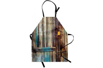 (Tan Teal) - Ambesonne Rustic Apron, Aged Shed Door Backdrop Colour Details Country Living Exterior Pastoral Mansion Image, Unisex Kitchen Bib with Adjustable Neck for Cooking Gardening, Adult Size, Tan Teal