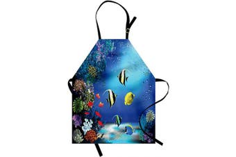 (Blue Navy) - Ambesonne Underwater Apron, Tropical Undersea Colourful Fishes Swimming in The Ocean Coral Reefs Image, Unisex Kitchen Bib with Adjustable Neck for Cooking Gardening, Adult Size, Blue Navy