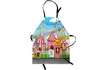 (Blue Red) - Ambesonne Circus Apron, Carnival Many Rides and Shops Illustration Landscape Cloudy Sky View Print, Unisex Kitchen Bib with Adjustable Neck for Cooking Gardening, Adult Size, Blue Red