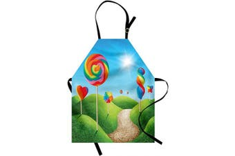 (Green Blue) - Ambesonne Fantasy Apron, Surreal Candy Land Delicious Lollipops and Sweets Sun Cheerful Fun Print, Unisex Kitchen Bib with Adjustable Neck for Cooking Gardening, Adult Size, Green Blue
