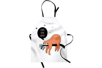 (Orange White) - Ambesonne Animal Apron, Australian Bear Type Lazy Shy Smiling Spirit Animal Sloth Cartoon Image Art, Unisex Kitchen Bib with Adjustable Neck for Cooking Gardening, Adult Size, Orange White