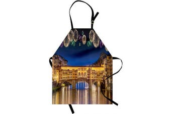 (Purple Yellow) - Ambesonne Landscape Apron, Night Panoramic View Vecchio Bridge Florence Italy Colourful Fireworks, Unisex Kitchen Bib with Adjustable Neck for Cooking Gardening, Adult Size, Purple Yellow