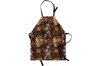 (Caramel Redwood) - Ambesonne Modern Apron, Coffee Culture Theme with Italian Espresso French Press Tea Artwork, Unisex Kitchen Bib with Adjustable Neck for Cooking Gardening, Adult Size, Caramel Redwood