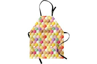 (Pale Yellow) - Ambesonne Ice Cream Apron, Circular Shapes Several Dessert Flavours Background Colourful Yummy Print, Unisex Kitchen Bib with Adjustable Neck for Cooking Gardening, Adult Size, Pale Yellow